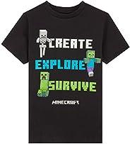 Minecraft Camiseta Niño, Ropa Niño Algodon 100%, Camisetas Gamers con Diseño Mob en Color Negro, Regalos para