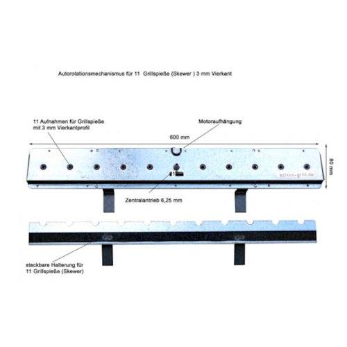 Nachrüstsatz Churrasco Spießgrill Antrieb für 11 Stück Vierkant-Spieße