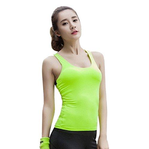 Vertvie Femme Tank Top Compression Back Ciselé Cercle Débardeur Slim T-shirt Sport sans Manches Pad Amovible Backless pour Fitness Yoga Vert