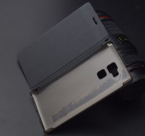 PREVOA ® 丨Flip PU Housse Plastique Dur Coque Etui Coque Protection Case pour Vernee Apollo Lite 4G Smartphone 5,5 Pouces - - (Noir)