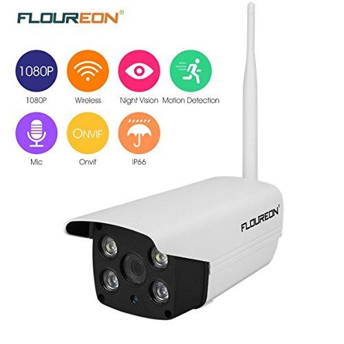 FLOUREON Caméra IP Extérieure Etanche 1080P HD Caméra de Sécurité Sans Fil Vision Nocture Colorée Intelligente Microphone intégré 2.0 Mégapixel H.264 Détection de Mouvement Support Micro SD ONVIF WIFI