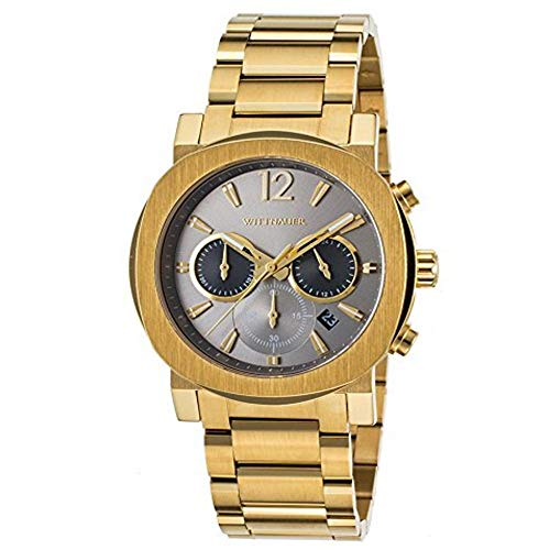 Wittnauer Men's Aiden 42mm Gold-Tone Steel Bracelet & Case Quartz Watch...