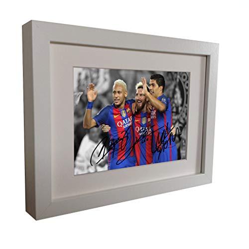 Firmado 2016/17blanco Neymar Jr. Lionel Messi Suárez Barcelona foto fotografía foto marco autógrafo de fútbol