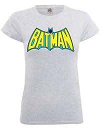 DC Comics Women's Official Batman Retro Logo Crew Neck Short Sleeve T-Shirt