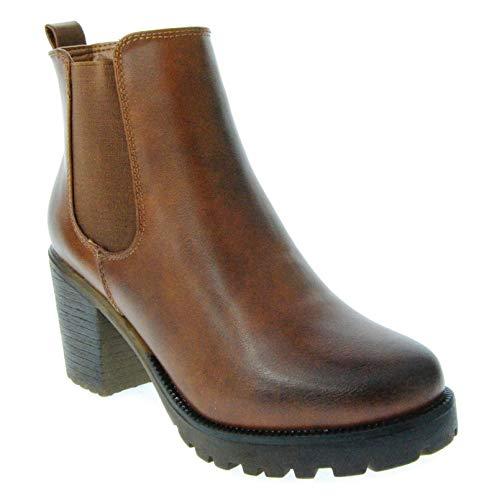 Bequeme Damen Stiefeletten Ankle Boots Plateau Knöchelhohe Stiefel Blockabsatz Kurzschaft 293 (39, Camel)