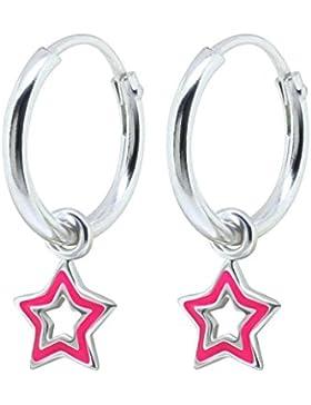 SL-Silver Ohrringe Kinderohrringe Creolen kleiner pinker Stern 925 Silber