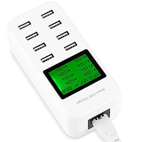46W LCD 8 Port 5V/6A USB Ladegerät Multi-Port USB Hub Schnell Ladegerät für Apple iPhone/iPad Samsung Galaxy Android Smartphones Tablets
