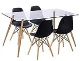 takestop® Set Composto da Tavolo da Pranzo in Vetro 120x80 CM con 4 SEDIE Sedia in Legno Bianco Design Cucina Soggiorno