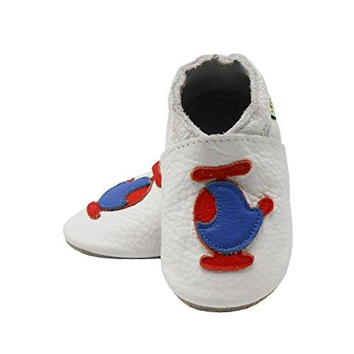 Sayoyo avion chaussures de bébé en cuir souple chaussures semelle douce Blanc