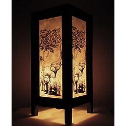 Rare Asia Thai lámpara de mesillas Buda estilo noche Familia Elefante por Tailandia