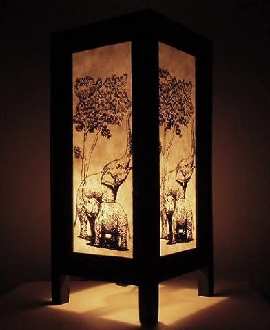 Rare Asie thaï Lampe de Tables Bouddha Style Chevet Famille éléphant Par Thaïlande