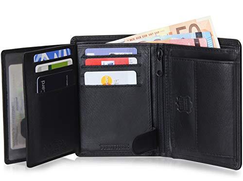 Echte Leder-geldbörse Leder (Schlichte Geldbörse aus echtem Nappa Leder mit RFID Schutz, 15 Kartenfächern und Münzfach im Hochformat, Schwarz)