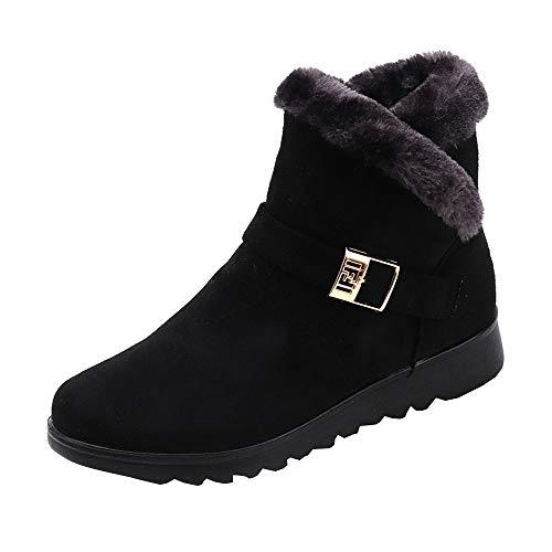 Ankle Boots Damen,Elecenty Frauen Winter Stiefel Stiefeletten Warm Gefütterte Schneestiefel Schnallen Winterboots Flache Schlupfstiefel Kurze Freizeitschuhe