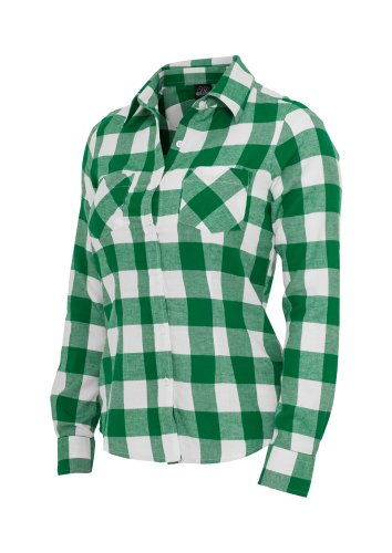 Urban Classics Ladies Checked Flanell Shirt, Camicia Donna Verde/Bianco
