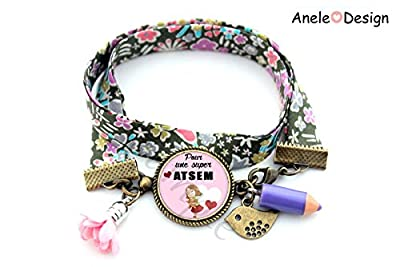 Bracelet Cadeau pour Atsem - Merci ATSEM - Super ATSEM! rose vert liberty oiseau