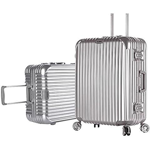 MHGAO Caster Pacifico alluminio Rod muto bagaglio valigia scatola ,