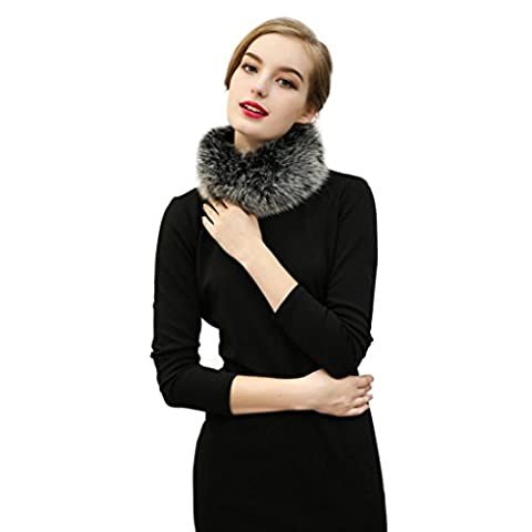 Scarves KanLin Winter Faux fur Scarf Lady Casual Fur Scarves O ring Fur Velvet Scarf (Gray)