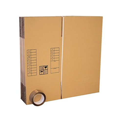 Lot de 10 cartons déménagement livres poignées+ adhésif 66m