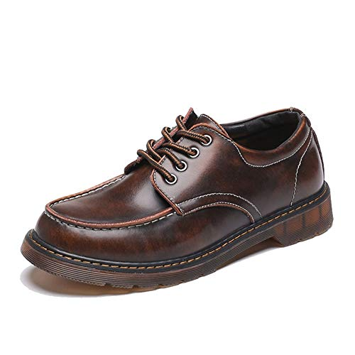 TONGDAUR Herren Chic Oxford Casual Klassische Runde Kopf Außensohle Low Top Workwear Schuhe Abendschuhe Lederschuhe für Herren (Color : Braun, Größe : 46 EU)
