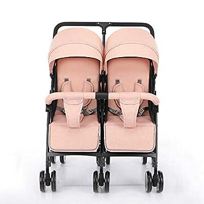 Baby Bites Cochecito Gemelos Plegable Sillas de Paseo gemelar dúo Twin Color Gris Puede Sentarse La Mitad De La Mentira 0-3 años de Edad?Máximo cargables de 45Kg de bebé?