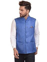 River Hill Mens Sky Blue Festive Nehru Jacket/Waistcoat