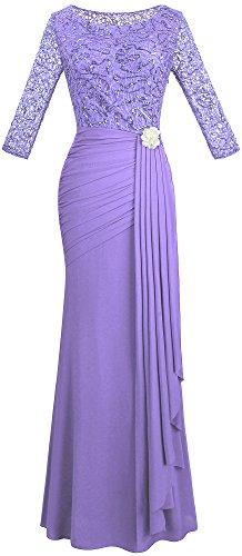 Angel-fashions Damen V-Ausschnitt Paillette Halbe Ärmel Meerjungfrau Mantel Maxi Hochzeitskleid (S,...