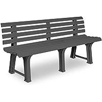 Garden Bench Outdoor 3 Seater Patio Terrace Furniture Grey Weatherproof Durable Seat