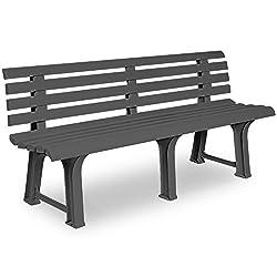 Deuba Garden Bench Outdoor 3 Seater Patio Terrace Furniture Weatherproof Durable Plastic Seat Grey
