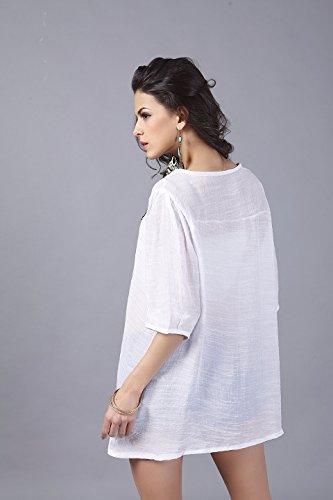 QIYUN.Z Les Femmes En Coton a Manches 3/4 O-Cou Broderie Collier Melangent Shirt Loose Blouse Blanc