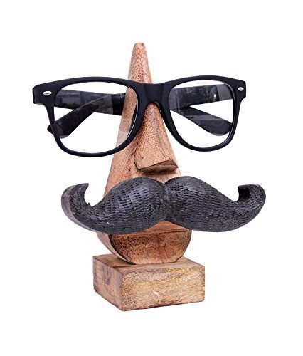 Store Indya, Witty Hand geschnitzte Holz Spectacle Halter mit einem amusanten Schnurrbart Dekorative