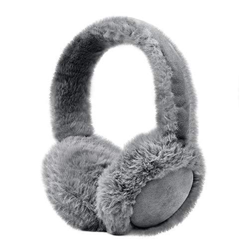 August EPA50 Cache Oreille Bluetooth avec Casque Audio Intégré - Musique au chaud et Sans Fil - Imitation fourrure / Moumoute Doux - Gris