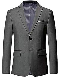 YOUTHUP Blazer Homme Slim Fit Formel avec Deux Boutons Classqiue Veste Couleur Unie Mariage d'affaires Bal
