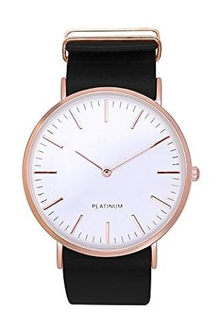 New Trend - Love for Accessories Mingbo Dalas Montre à quartz unisexe en acier inoxydable avec bracelet en cuir Noir/or rouge/or rose/cuivre