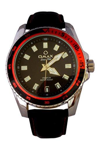 Omax Herren Rot Schwarzes Zifferblatt Silber Lünette Schwarz PU Leder Armbanduhr Analog Quarz Extra Batterie