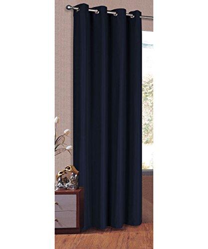 Vorhang Blickdicht Schal, Matte unifarbene Gardine mit Ösen. Material aus Microsatin Micofaser-Gewebe. 225x140, Dunkelblau, 20405