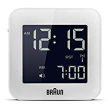 Braun Digital Multi-Region Radio Controlled Travel Alarm Clock with Snooze, Compact Size, Negative LCD Display, Quick Set, Beep Alarm in White, BNC008WH-RC