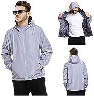 Men's Waterproof Windproof Rain Jacket Outwear, Mens 2-Sided Reversible Hooded Rain Ja