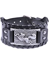 Fox Sprial Celtic Knot Symbol Braided Wide Leather Wristband Bracelet