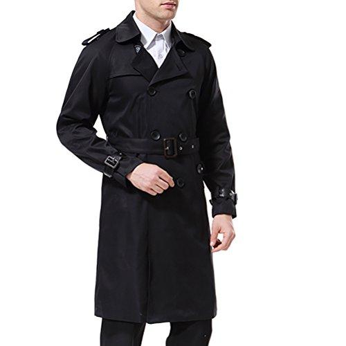 AOWOFS Herren Trenchcoat Lang Zweireihiger Slim Fit Mantel im Militärischen Stil Trench Coat mit Gürtel - 2