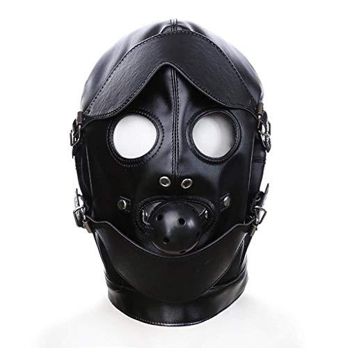 Mtz SM-Toys Damen Maske Kapuze Schwarz Leder Fetisch Bondage Mund Ball Gag