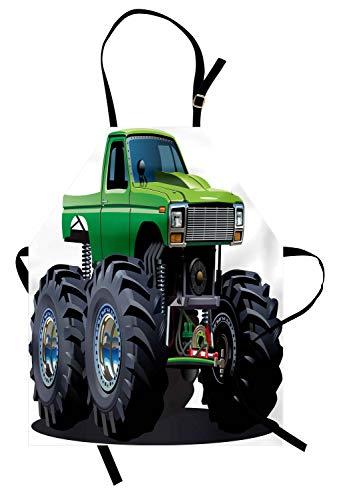 ABAKUHAUS Autos Kochschürze, Riesige Monster Pickup Truck mit großen Reifen und Fahrwerk Extreme größte Wheel Print, Farbfest Höhenverstellbar Waschbar Klarer Digitaldruck, Grün Grau