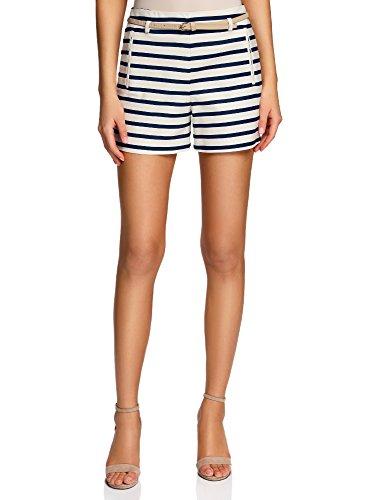 oodji Ultra Damen Baumwoll-Shorts mit Gürtel, Blau, DE 36 / EU 38 / S