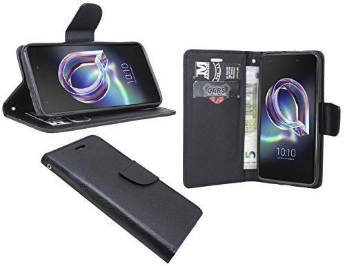 cofi1453 Elegante Buch-Tasche Hülle für Das ALCATEL Idol 5S (6060X) in Schwarz Leder Optik Wallet Book-Style Cover Schale