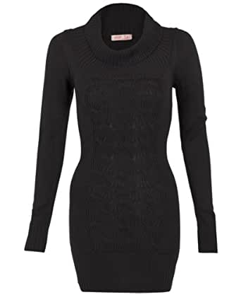 3634-BLK-16: KRISP Chunky Knitted Woollen Cowl Neck Ribbed Long Jumper Dress Top Sweater 3634