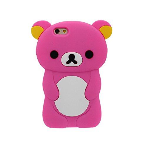 Schön Bär Gestalten Serie Slikon Gel [ Glatte Oberfläche ] Super Weich Cartoon Tier Hülle Case Schutzhülle für Apple iPhone 6 / iPhone 6S 4.7 inch Hülle - Pink hot pink