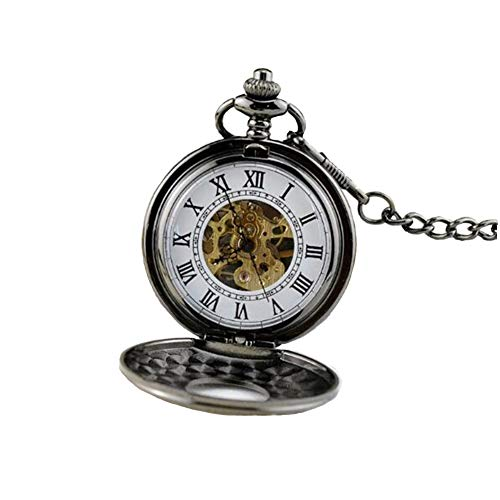 KASIQIWA Retro Mechanical Pocket Watch, Tungsten Stahl Doppeldeckel Carved Hollow Mechanical Movement Rom Nummer als Delikate-Geschenk,Silver