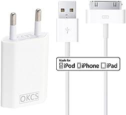 OKCS Ladeset - USB Ladekabel 1 Meter + 1A Netzteil für Apple iPhone 4, 4s, iPad 2, 3 & iPod - in Weiß