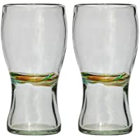 Pint shaped glass (450 ml), multi-stripe set of 2, hand blown from recycled glass - fair trade and handmade in Mexico