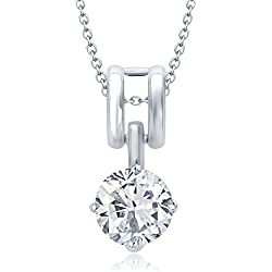 V. K. Jewels Silver Rodhium Plated Brass Alloy Cz American Diamond Pendant Necklace For Women