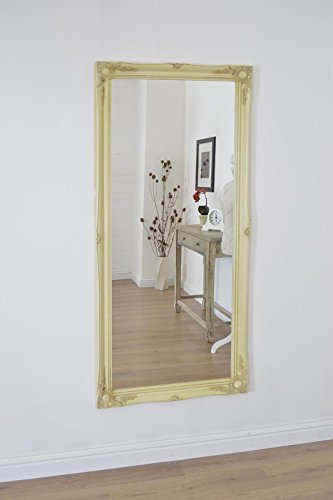 Full Length Warm Cream (not distressed) Dressing / Hall Mirror complete with Premium Quality Pilkington's Glass - Overall Size: 66 inches x 30 inches (77cm x 168cm)